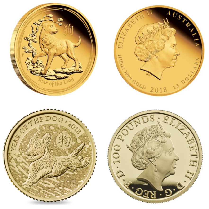 2018 gold Bullion Year of The Dog Gifts