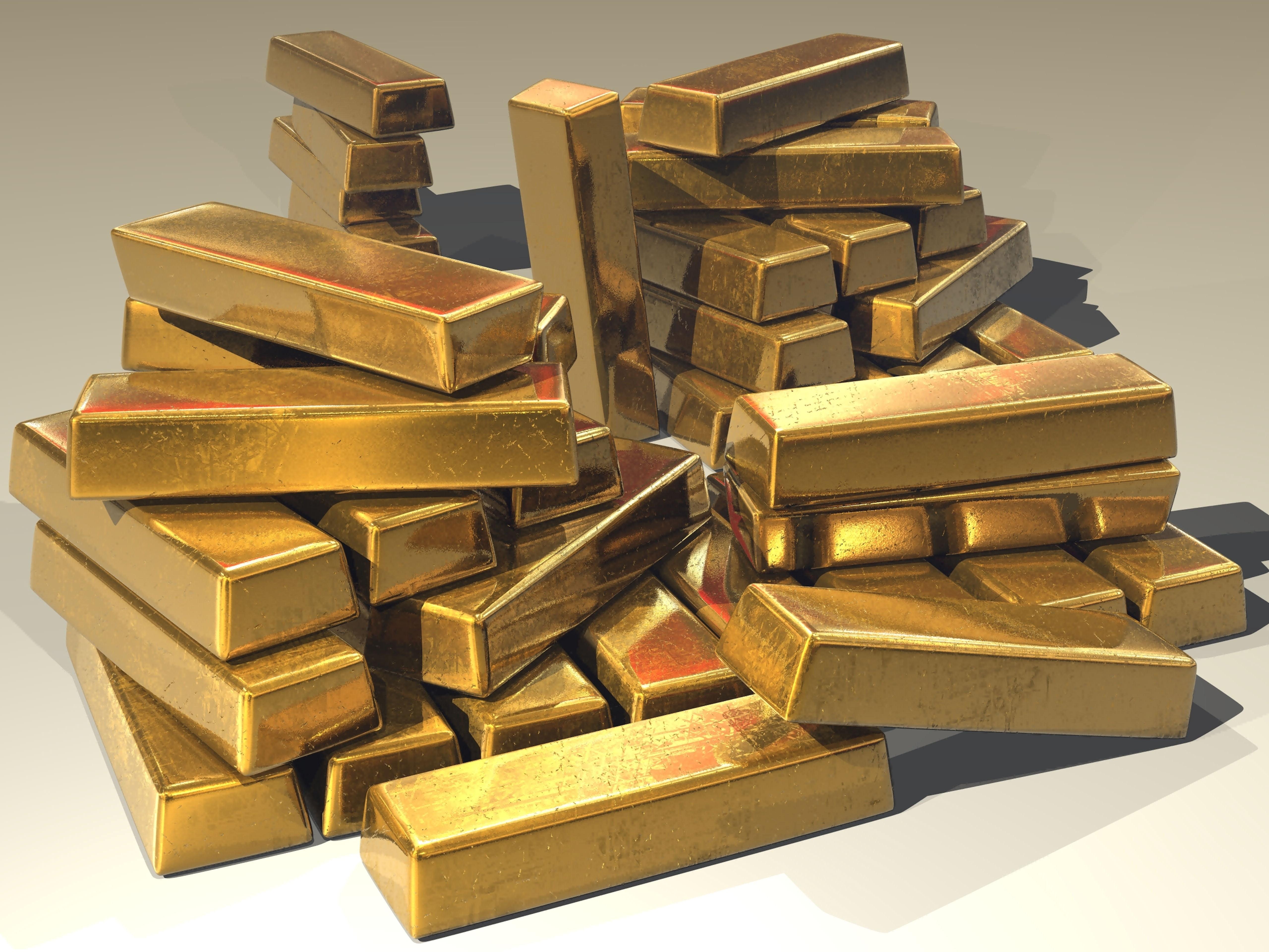 Stacks of gold bars and Gold Bullion in Hong Kong